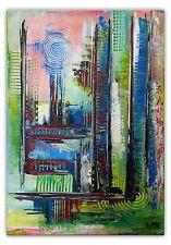 BURGSTALLER Acrylbild bunt pastell abstrakt Original painting abstract modern