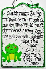 White Frog Bathroom Rules Sign Bath Kids Childrens Wall Wood Decor Plaque