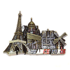 Paris Souvenir Metal Fridge Magnet - Eiffel Tower, Arc De Triomphe, Notre Dome