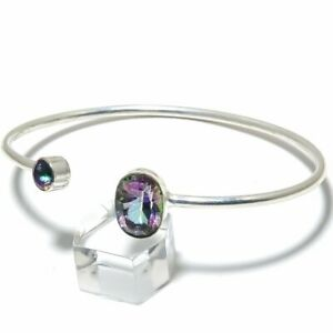 Mystic Rainbow Topaz, Blue Topaz Gemstone 925 Silver Cuff Bracelet Adjustable