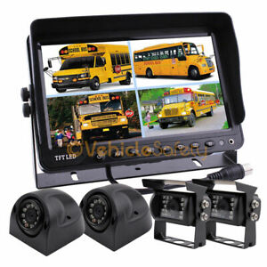 """Vehicle Backup Reverse Camera Safety System 9"""" Monitor With Quad Screen 4 Camera"""