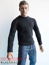 1/6 Black Color Long Sleeve T-Shirt (BlackHover 1:6 Tee Shirt for Action Figure)