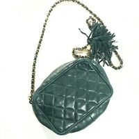 I Magnin Studio Leather Quilted Chain Bag Green Small