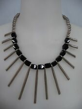 Sterling Necklace w/Faceted Onyx Beads Most Amazing & Dramatic Mexican