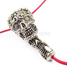 1 set Tibet Antique Silver 3 hole Skull Guru beads Jewelry for Prayer Rosary