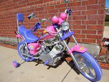 Kids Motorcycle Ride On Pink Purple Bike Battery Power Girls Harley Style Wheels