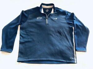 NCAA Penn State *COACH WORN* Nittany Lions Nike Dri-Fit 1/4 Zip XXL NavyBlue