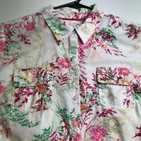 Croft & Barrow Women ¾ Sleeve Button Up Shirt XL Multicolor Floral Leaves Bold