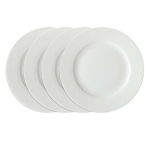 4pc Maxwell & Williams White Basics Round Rim Dinner Plate Set 27.5cm/Porcelain