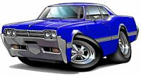 1966 Oldsmobile Cutlass Wall Poster Decal Man Cave Graphics Garage Stickers