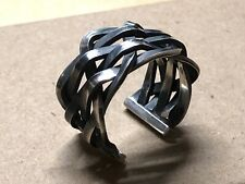 Solid 925 Sterling Silver Mens Heavy Solid Knitted Ring Open Adjustable Size