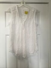 NEW Anthropologie Embroidered Lace Up Tank Top Blouse Size 8