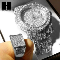 TECHNO PAVE ICED OUT WHITE GOLD FINISHED LAB DIAMOND WATCH and RING#2 SET TP12S