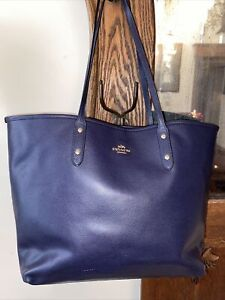 Coach Tote Bag Leather Navy  Large F1532 EUC