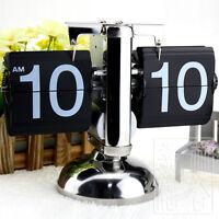 Modern Art Desk Flip Clock Metal Table Watch Scale Digital Auto Retro