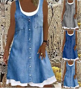 Summer Womens Sleeveless Midi Dress Ladies False 2 pcs Shirt Dresses plus size