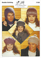 VAT Free Easy KNITTING PATTERN ONLY Adults Hats Teddy Knitting Patterns 7159 New