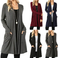Women Long Sleeve Solid Coat Jacket Cardigan Sweater Open Front Loose Jumper Top