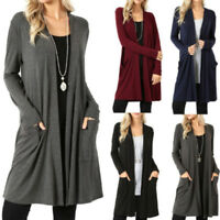 Ladies Comfy Plain Long Sleeve Boyfriend Cardigan With Pockets Plus Sizes 8-22
