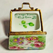 Limoges France French Hand Painted Pink Rose Purse Trinket Box Peint Main Limoge