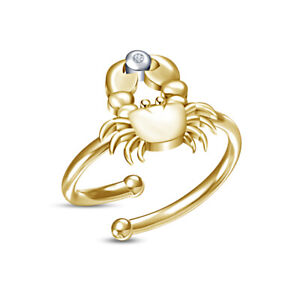 14K Yellow Gold Over D/VVS1 Diamond Zodiac Signs Cancer Adjustable Toe Ring