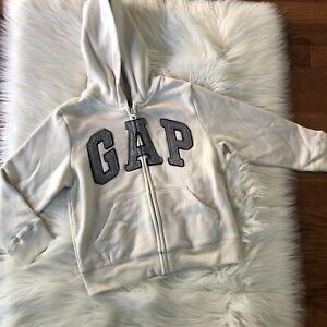 NWT GAP Full Zip Hoodie Cream Gray Size 5 Unisex