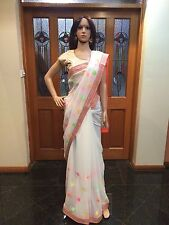 Indian Designer Saree Bollywood Party Wear Diwali Sari Dress White Orange Casual