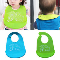 Cartoon Baby Infant Silicone Waterproof Soft Bib Easily Wipes Clean Feeding Bibs