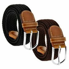 Braided Belt Woven Elastic Stretch Comfort Buckle Fabric Leather Mens Womens