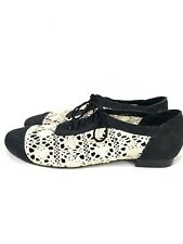 "I Love Billy women's SHOES size 39 Flat Black Crochet Lace Up ""Buckets"""