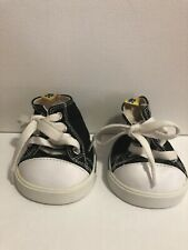 Build a Bear Black White Converse Style Sneakers Shoes Lace Up