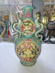 Fabulous Polychrome Chinese Porcelain Double Gord Vase Republic Period C1910