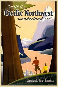 1920s Pacific Northwest Travel by Train Vintage Style Travel Poster - 20x30