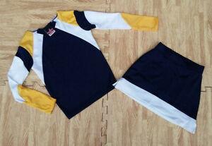 "NEW GIRL XS/S 4/6 NAVY Long Sleeve Cheerleader Uniform Top Skirt 23-25/18-21"""
