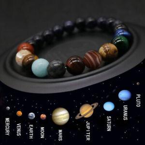 Eight Planet Bead Bracelet Men Women Natural Stone Universe Yoga Chakra Bangle