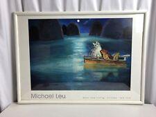 "Michael Leu""Moon Lake Fishing"" Cat Lover Whimsical Pop Art Poster Signed"