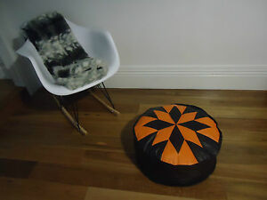 Beautiful Leather Ottoman for use as Coffee Table or Pouf or Pouffe - Orange