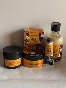 Body Shop Vanilla Pumpkin Gel,Butter,In Shower Mask,Hand Cream,Bomb + 2 Gifts
