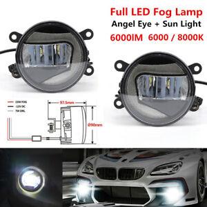 Universal 2PCS Full LED Fog Lamp Angel Eye+Sun Light Front Bumper Clear Lens 20W