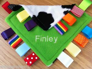 PERSONALISED TAGGY BLANKET/COMFORTER/GIFT IN LIME GREEN