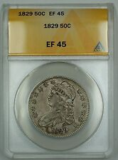 1829 Capped Bust Half Dollar 50c Coin ANACS EF-45
