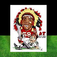 DERRICK THOMAS in #58 Kansas City Chiefs jersey FOOTBALL ART artist auto. signed