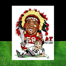 DERRICK THOMAS in #58 Kansas City Chiefs jersey FOOTBALL ART artist auto. signed