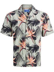 camicia uomo maniche corte fantasia fiori marca Jack & Jones floral shirt verde