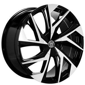 "4ea 24"" Lexani Wheels Ghost Gloss Black Machined Rims (S43)"