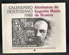 Aforismos Eugenio Maria De Hostos Calendario Hostosiano 1988 Puerto Rico