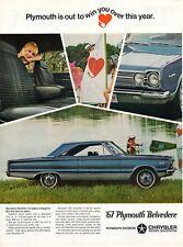 Vintage automobile Print car ad 67 Plymouth Belvedere Satelite Lake 1966 ad