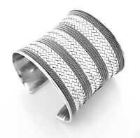 Stunning Wide Womens 925 Sterling Silver Cuff Bangle Bracelet