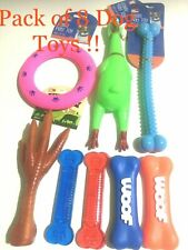 LOT OF 8 DOG TOYS DOG PULL TOY SQUEAKY BONE PUPPY TEETHING TOY SQUEAKER CHICKEN