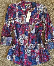 NWT! Jones New York Button Down Paisley Multicolor Shirt Top Blouse L